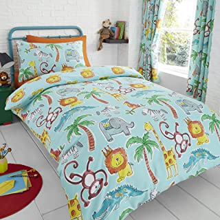 Happy Linen Company HLC Childens Jungle Safari Animals Lion UK King/US Queen Teal Reversible UK Single/US Twin Bedding Duvet Cover Set
