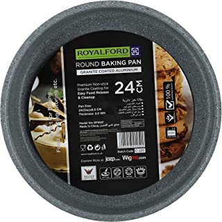 Royalford RF9921 24CM Aluminium Round Baking Tray - Durable & Granite Non-Stick Interior & Exterior| Oven Safe | Ideal for...