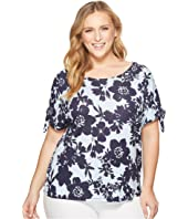 Plus Size Short Sleeve Top with Tie Sleeves