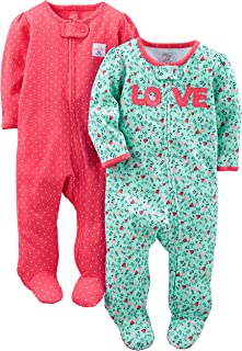 Baby Girls' 2-Pack Cotton Footed Sleep and Play