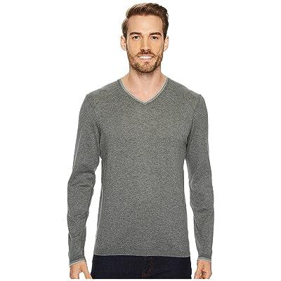 Agave Denim Fin Long Sleeve V-Neck 14GG Sweater (Gunmetal) Men