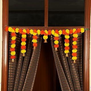 TIED RIBBONS Door Hanging Artificial Marigold Fluffy Flowers Garlands Bandanwar Toran for Diwali Decorations (105 cm X 36 ...