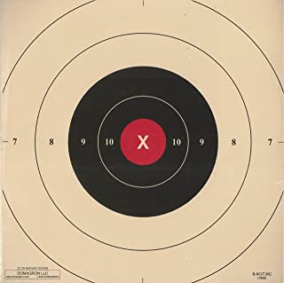 DOMAGRON 25 Yard Timed and Rapid Fire Repair Center Pistol Target Red Center Version of The Official NRA Target B-8(CT) (100 Pack)