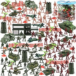 3 otters 307PCS Military Figures and Accessories, Military Base Set War Soldiers Playset Battlefield Accessories for Party Favor