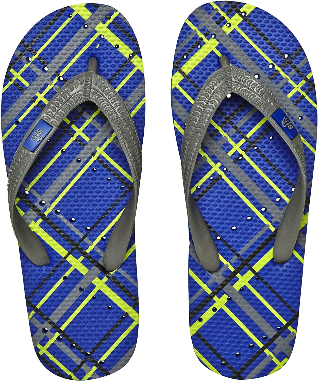 Showaflops Boys' Antimicrobial Shower & Water Sandals for Pool, Beach, Camp and Gym - bluee Plaid 5 6