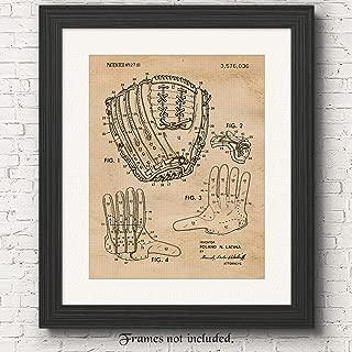 Original Baseball Glove Patent Poster Prints, Set of 1 (11x14) Unframed Photo, Wall Art Decor Gifts Under 15 for Home, Office, Garage, College, Man Cave, Student, Coach, Teacher, Sports & MLB Fan