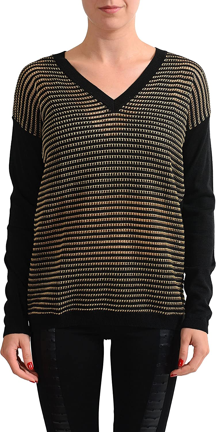 Versace Jeans Wool Multicolor VNeck Knitted Women's Sweater US XS IT 38