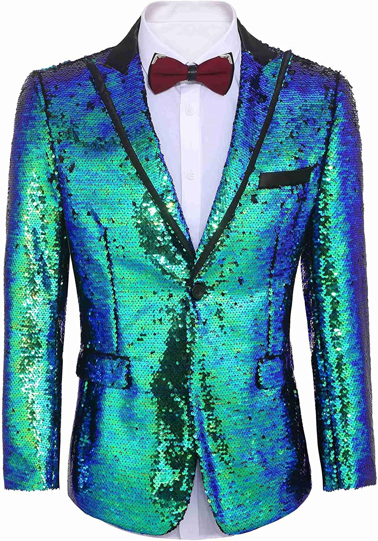 COOFANDY Chaqueta Blazer de lentejuelas brillante para hombre, con un botón, para fiestas, bodas, banquetes, bailes