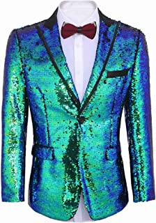 JINIDU Shiny Sequins Suit Jacket Blazer One Button Tuxedo for Party, Wedding, Banquet, Prom, Nightclub
