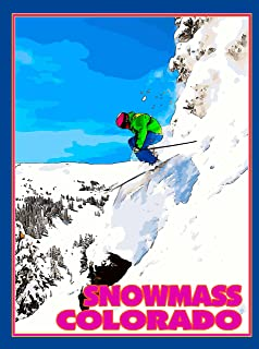 A SLICE IN TIME Snowmass Ski Aspen Colorado United States of America Travel Advertisement Art Poster