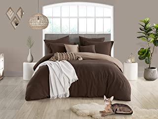 Swift Home Reversible Microfiber Washed Crinkle Duvet Cover & Sham (1 Duvet Cover with Zipper Closure & 2 Pillow Shams), Premium Hotel Qaulity Bed Set, Ultra-Soft – King/Cal King, Chocolate/Tan
