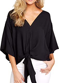 Women Loose Fitting Bat Wing Shirts V Neck Tie Knot Tops Blouses