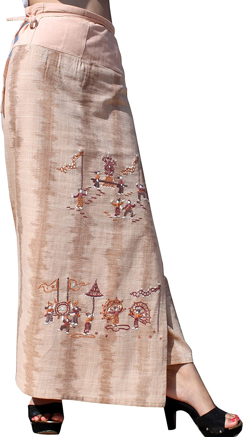 Full Funk Soft Cotton Thai Wrap Skirt Embroidered Art of Southern Festival
