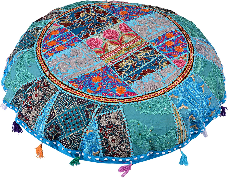 White flyingasedgle Indian Handmade Colorful Floor Decor Round Pillow 32 inch Bohemian Meditation Cushion Floor Cushion Indian Seating Ottoman Cover