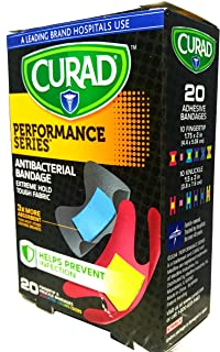 Curad Performance Series Fingertip and Knuckle Extreme Hold Fabric Bandages, 20 Count (3-Pack)