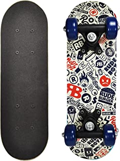 RudeBoyz 17 Inch Mini Wooden Cruiser Graphic Beginner Kids Skateboard