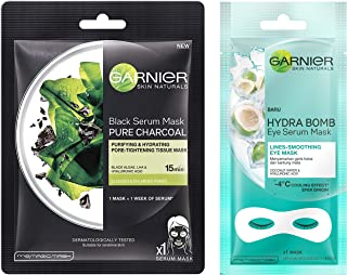 Garnier Skin Naturals, Charcoal, Face Serum Sheet Mask (Black), 28g and Garnier Hydra Bomb Eye Serum Mask, Coconut Water, 6 g