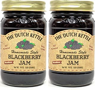 The Dutch Kettle Amish Homemade Style Blackberry Jam Seedless 2-19 Oz. Jars All Natural Non-GMO No Preservatives