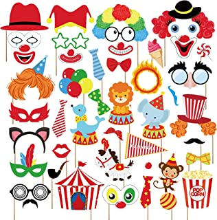 Kristin Paradise 44Pcs Circus Animals Photo Booth Props with Stick – Carnival Selfie Props - Circo Party Supplies – Birthday Theme Backdrop Decorations for Kids, Baby Shower, 1st, First Bday