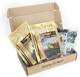 Man Crates Booze-Infused Jerkygram with 4 Sampler Varieties of Deliciously Buzzworthy, Alcohol Flavored Jerky - Great Gifts for Men