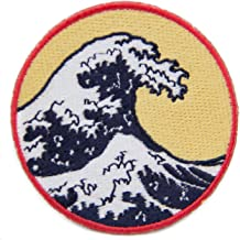 Great Wave Iron On Patch Circular 2.75 inch Embroidered Famous Artwork