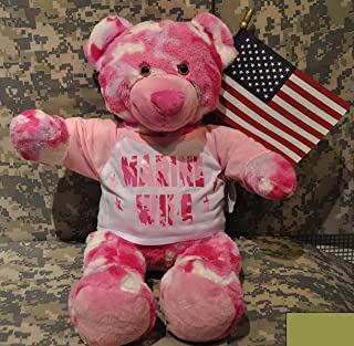 Teddy Mountain Recordable Marine Mom Cammie The Pink Camo US Military Bear 8