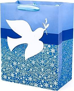 Hallmark Tree of Life Large Hanukkah Gift Bag (Blue and Silver, Peace Dove)