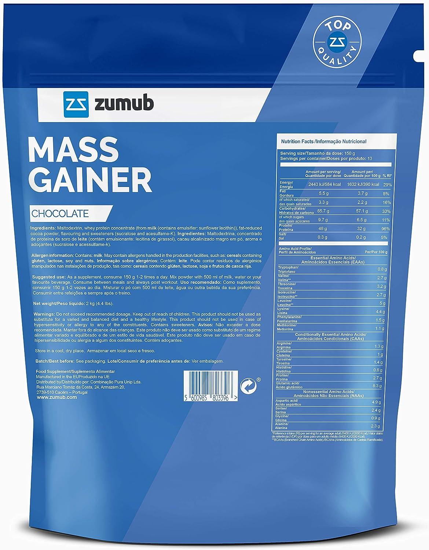Zumub Mass Gainer 2kg (chocolate): Amazon.es: Salud y cuidado ...