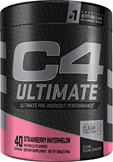 C4 Ultimate Pre Workout Powder Strawberry Watermelon   Sugar Free Preworkout Energy Supplement for Men & Women   300mg Caf...