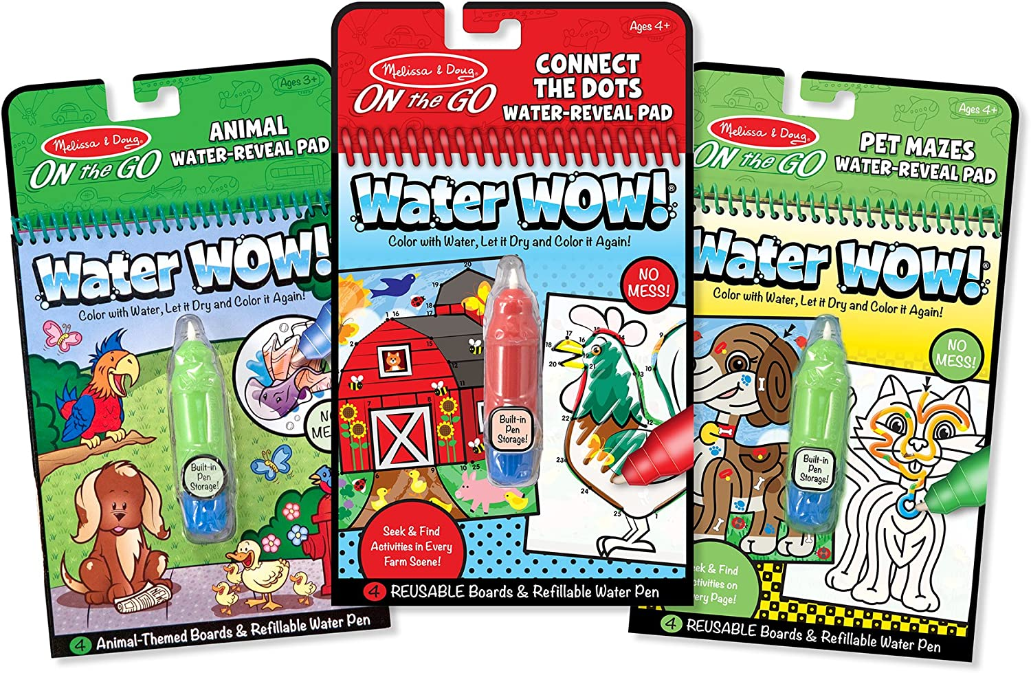 Melissa & Doug On the Go Water Wow  WaterReveal Activity Pads Set  Animal, Connect the Dots, Pet Mazes