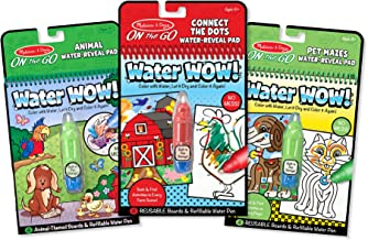 Melissa & Doug On the Go Water Wow! Water-Reveal Activity Pads Set - Animal, Connect the Dots, Pet Mazes