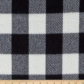 Newcastle Fabrics Black/White Fleece Buffalo Plaid Print Fabric by The Yard