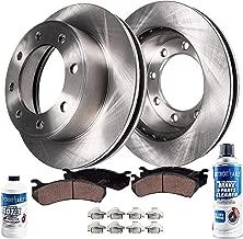 Detroit Axle - Pair (2) Rear Disc Brake Rotors w/Ceramic Pads w/Hardware & Brake Cleaner & Fluid for 2003 2004 2005 2006 2007 2008 Dodge Ram 2500 3500 SRW DRW - [2006-2008 Ram 1500 Mega Cab]