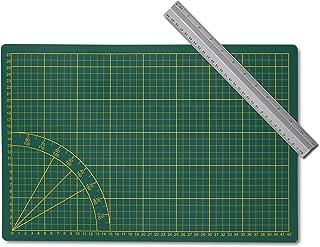 Kontor1 Set : tapis de découpe + règle en aluminium 30 cm | tapis de bricolage, planche à découper A3, vert, avec règle d'...