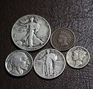 Old U.S. Silver Coins 5 Coin Collection Set - Indian Head Cent, Buffalo Nickel, Mercury Dime, Standing Liberty Quarter, Walking Liberty Half Dollar
