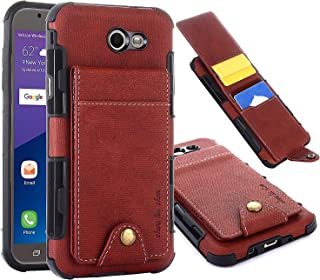 Samsung Galaxy J7 Sky Pro Case, Galaxy J7 Perx Case, Galaxy J7 V Case, Galaxy Halo, Galaxy J7 Prime Wallet Case, 5 ID Credit Card Slot, Button Flip-Out Leather Drop Protection Case -Brown
