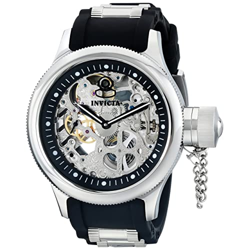 e19fe845b14 Invicta Men s 1088 Russian Diver Stainless Steel and Black Polyurethane  Skeleton Watch