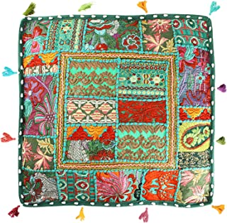 Handmade Square Floor Cushion Cover Embellished with Indian Chindi Patchwork and Embroidery Work Ottoman Pouf Indoor Outdoor Seating for Adults (18 x 18 Inches)