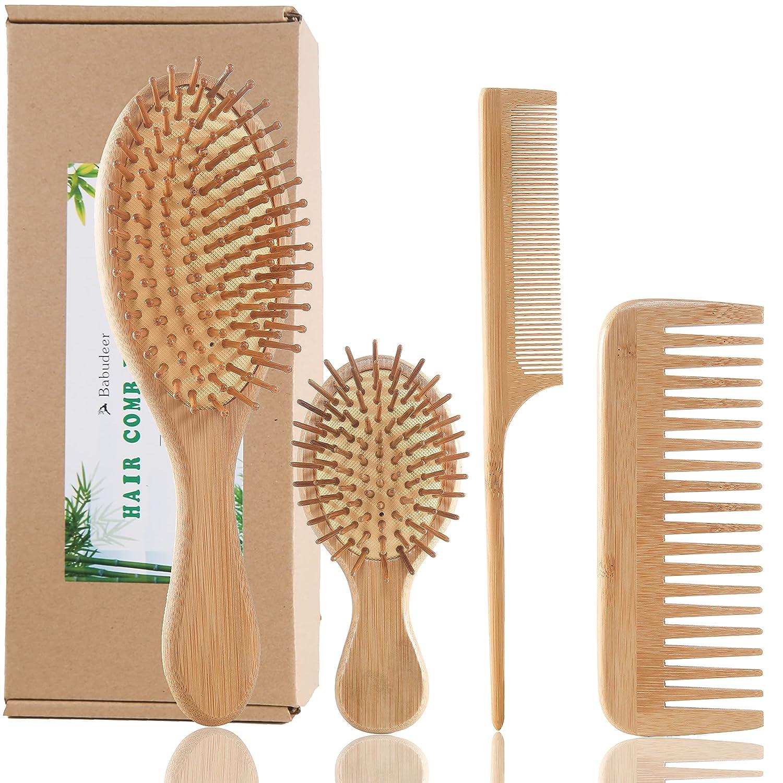 Bamboo Max 82% OFF Hair Brush Comb Detangling Eco-Friendly Ranking TOP8 Anti-Static Set