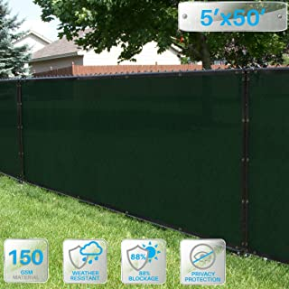 Patio Paradise 5' x 50' Dark Green Fence Privacy Screen, Commercial Outdoor Backyard Shade Windscreen Mesh Fabric with Brass Gromment 88% Blockage- 3 Years Warranty (Customized