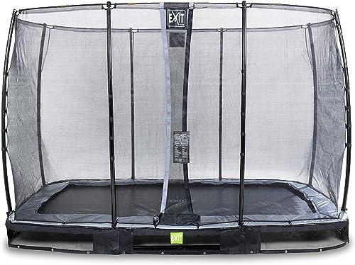 EXIT Trampoline enterré Elegant Premium de 214x366cm avec Filet de sécurité Economy - Noir