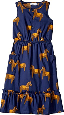 mini rodini - Horse Woven Flounce Dress (Infant/Toddler/Little Kids/Big Kids)