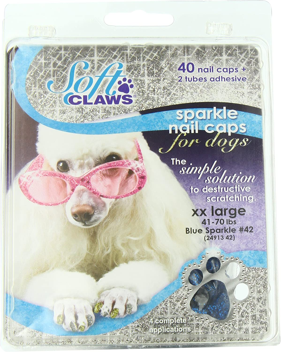 Canine Soft Claws Nail Caps, XXLarge, bluee