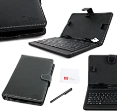DURAGADGET Black Faux Leather Folio Micro USB QWERTY Keyboard Case for Tolino tab 8, Airis OnePAD 740, M733 Phone Call Tablet PC 7 Inch 3G Phablet