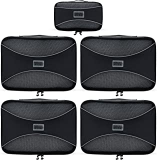 PRO Packing Cubes - (5 Pc MEDIUM Set) Travel Luggage Packing Organizers | Durable & Ultra Lightweight Design | Compress Gear By 30% | #1 Travel Accessory to Pack & Organize Bags Suitcases & Backpacks