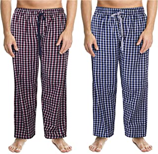 2 Pack Men's 100% Cotton Woven Pyjama Bottoms Check Lounge Pants Nightwear