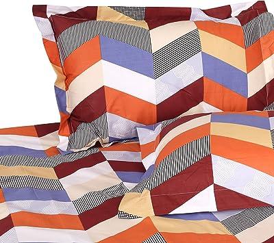 Signature Utsav Gold Geometric Print King Size Double Bedsheet with 2 Pillow Covers| Cotton 150 TC (Multicolour)