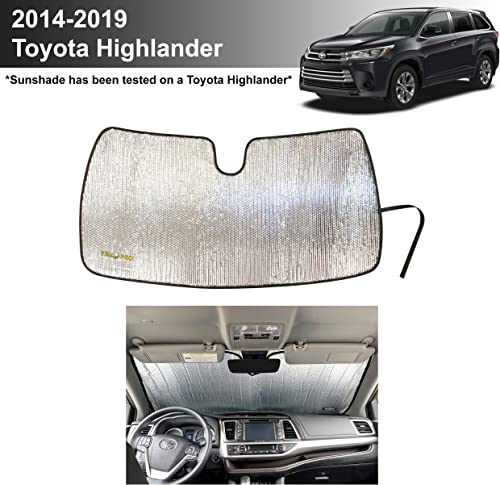 new arrival YelloPro Auto Custom Fit Car Front Windshield Reflective Sunshade 2021 Protector for 2014 2015 2016 2017 2018 2019 Toyota Highlander LE XLE online sale SE Limited Hybrid SUV, Sun Shade Accessories, Made in USA online sale