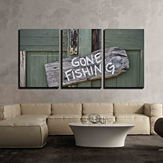 wall26 - 3 Piece Canvas Wall Art - Gone Fishing - Modern Home Decor Stretched and Framed Ready to Hang - 16