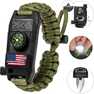 A2S Protection PSK Paracord Bracelet 8-in-1 Personal Survival Kit Urban & Outdoors Survival Knife, Fire Starter, Glass Breaker, Survival Whistle, Signal Mirror, Fishing Hook & String, Compass